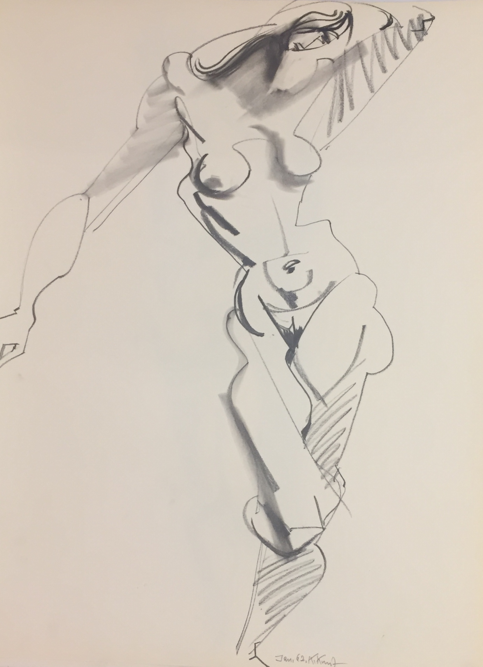 Karl Kunz | Nude | 1962 | pencil, charcoal | signed and dated | 65 x 50 cm