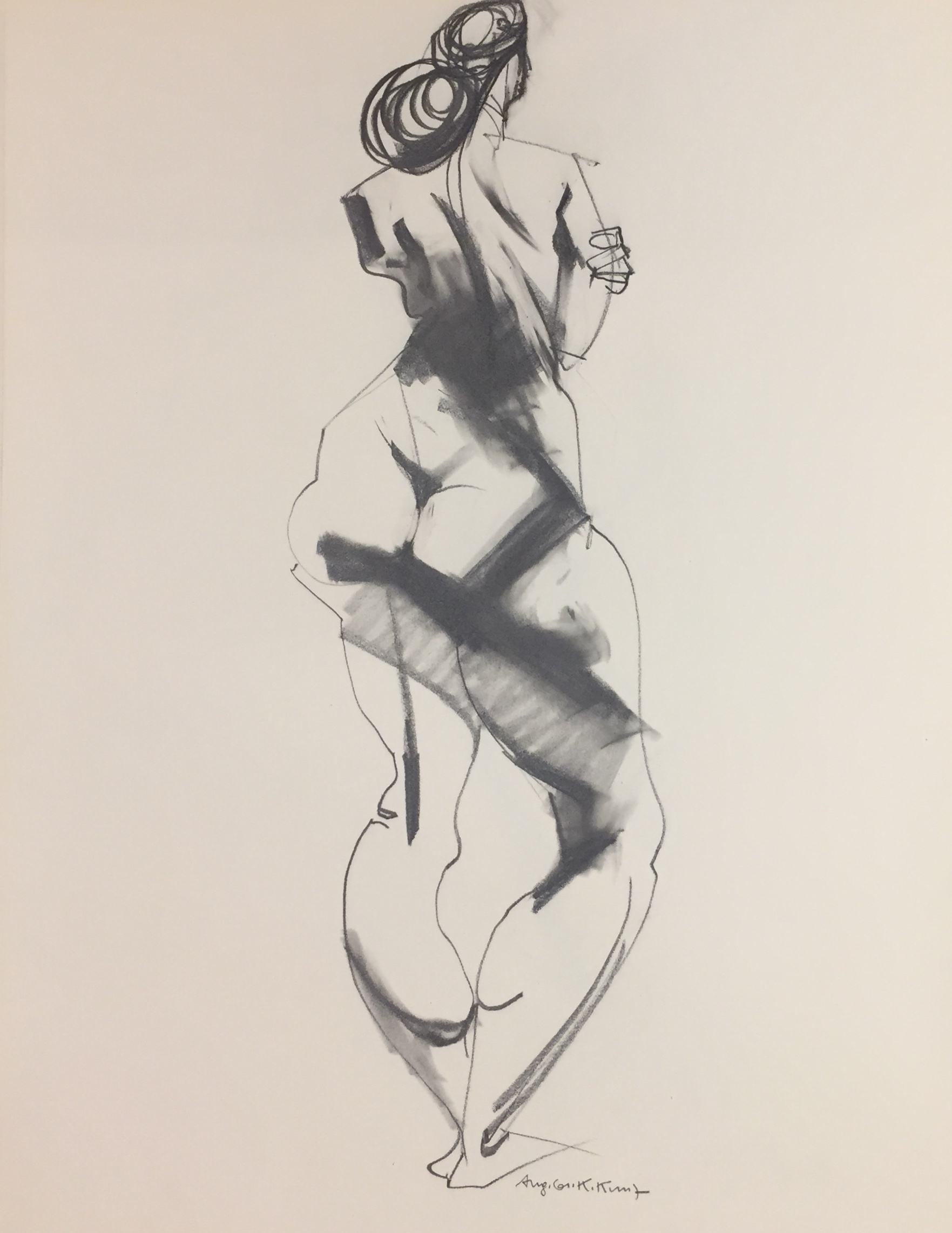 Karl Kunz | Nude | 1961 | pencil, charcoal | signed and dated | 65 x 50 cm