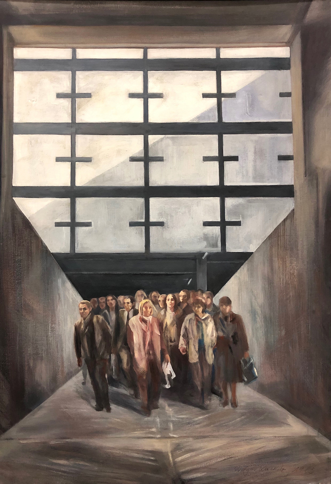 Evelyn Kuwertz | Fallout Shelter | 1983 | tempera, oil on canvas | signed and dated | 100 x 70 cm