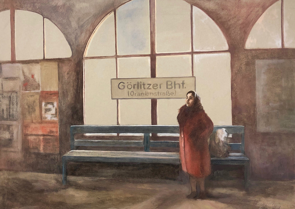 Evelyn Kuwertz | Subway Station Görlitzer Bahnhof | 1979 | Tempera | signed and dated | 50 x 69 cm
