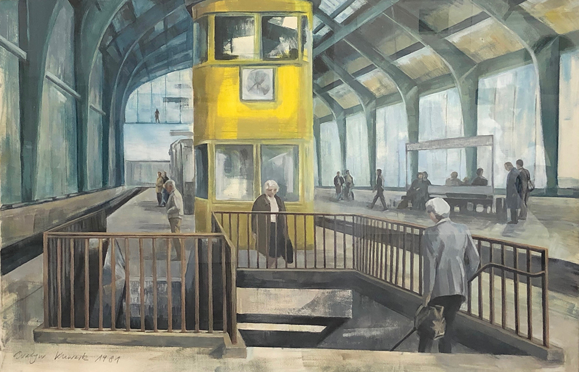 Evelyn Kuwertz | Tram Station Friedrichstrasse | 1981 | tempera | signed and dated | 80 x 123 cm