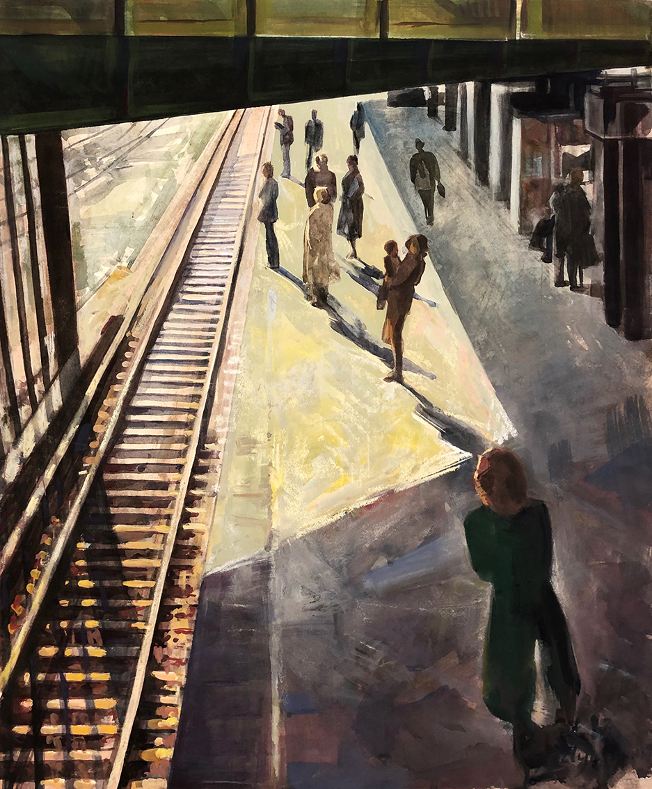 Evelyn Kuwertz | Tram Station Schöneberg | 1983 | watercolour, tempera, pastell | signed and dated | 76 x 64 cm