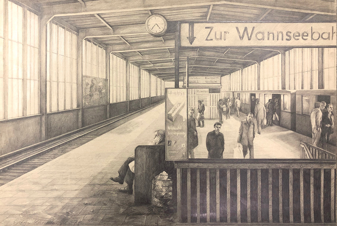 Evelyn Kuwertz | Zur Wannseebahn | 1979 | pencil drawing on cardboard | signed and dated | 70 x 100 cm