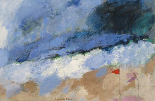 Hans Laabs | Beach Flags | 2000 | acrylic on cardboard | signed and dated | 22 x 34