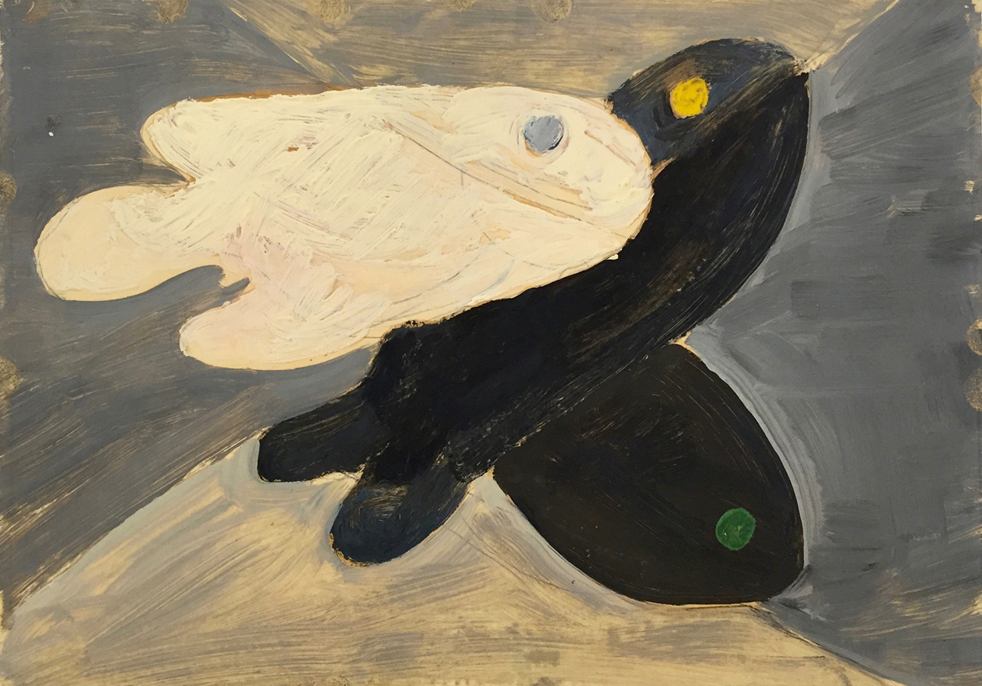 Curt Lahs | Three Fish | 1936 | oil and tempera over pencil on paper | verso authorized, dated and titled | 21 x 29.7