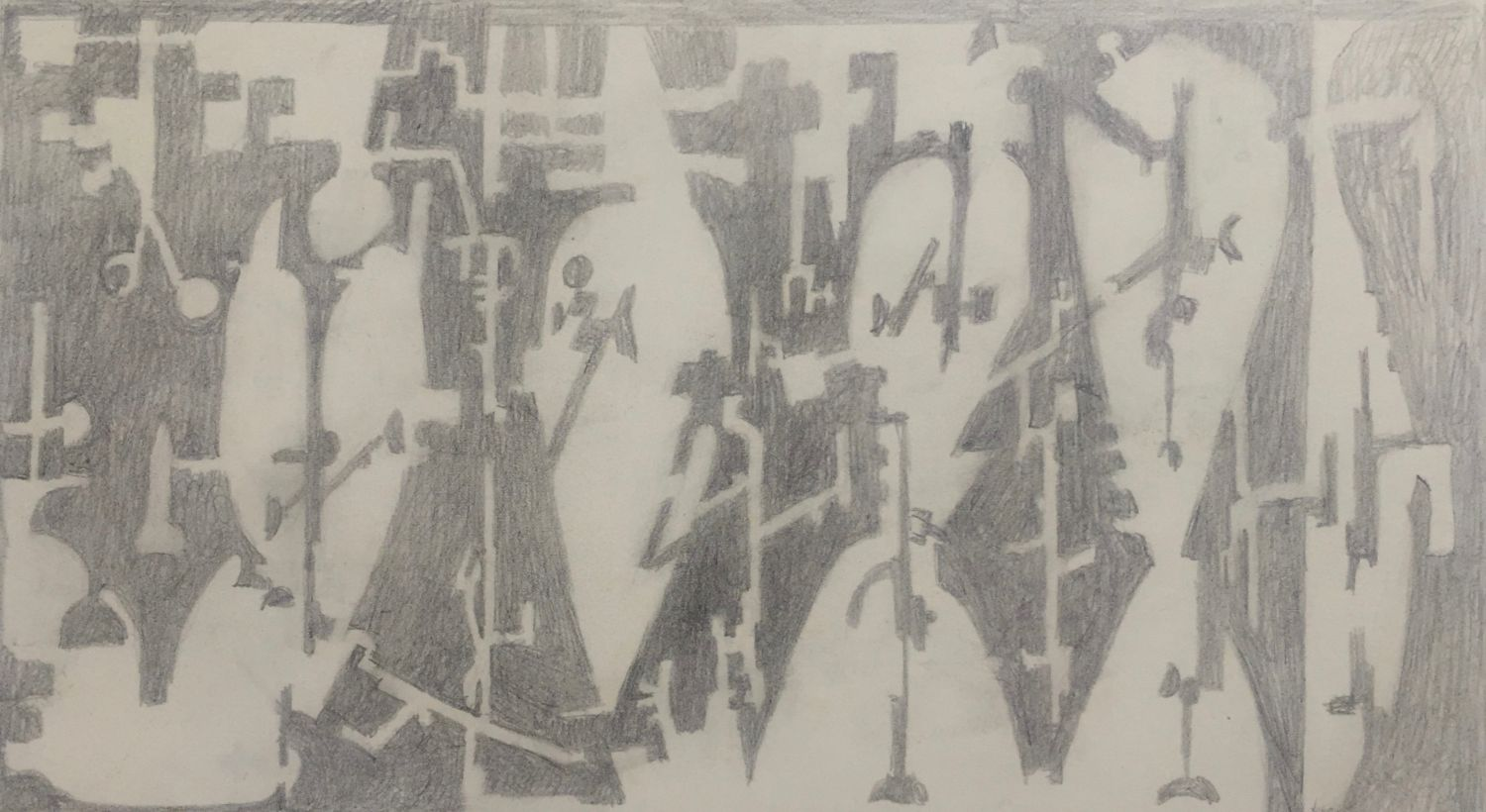 Curt Lahs | Additons Bright and Dark | 1957 | pencil | verso signed, dated and titled by estate | 15.2 x 20.8