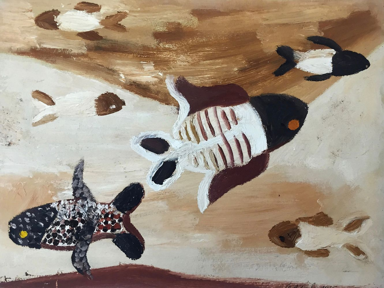 Curt Lahs | Fish | 1935 | oil on laid cardboard | signed and dated | 24.2 x 31.7