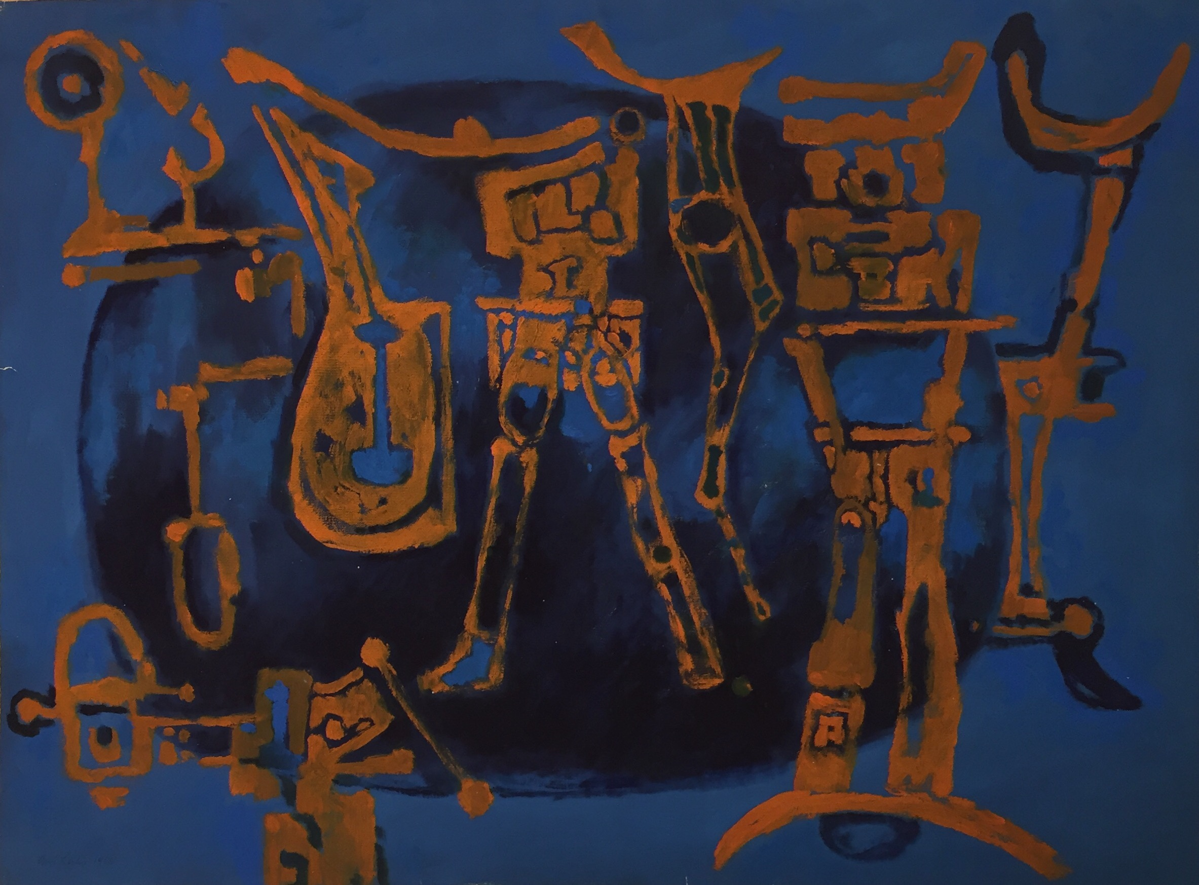 Curt Lahs | Bright Signs | 1955 | tempera on paper | signed and dated | 47.4 x 62.5 cm