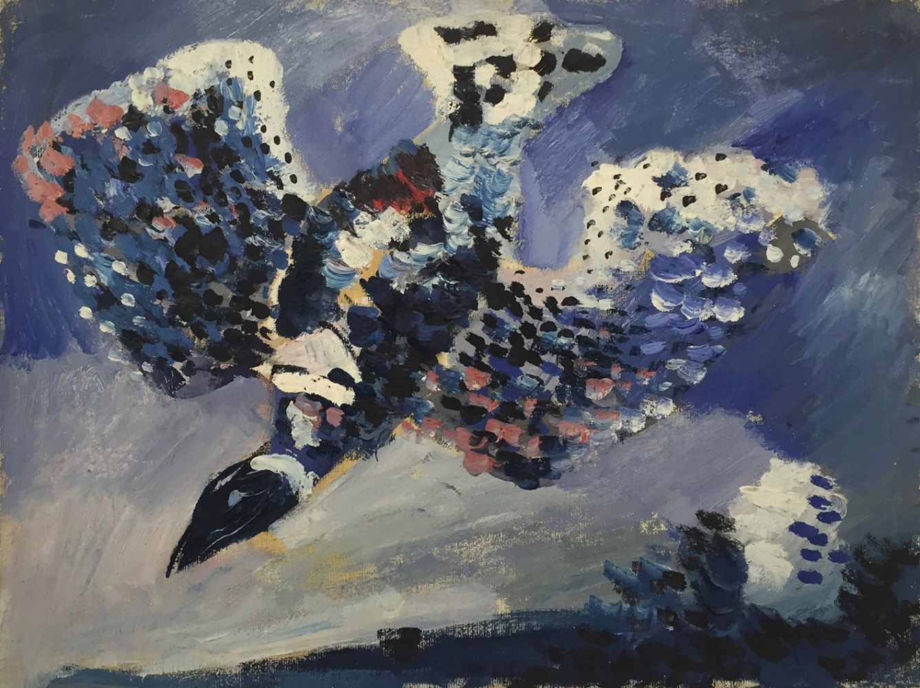 Curt Lahs | Swooping Bird | 1931 | oil on canvas | verso authorized, dated and titled by estate | 23.8 x 31.8