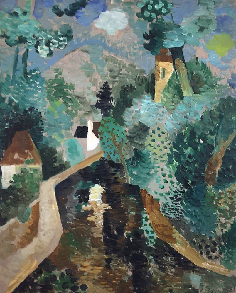 Curt Lahs | Landscape with Houses | about 1940 | oil on canvas | signed | 50 x 40