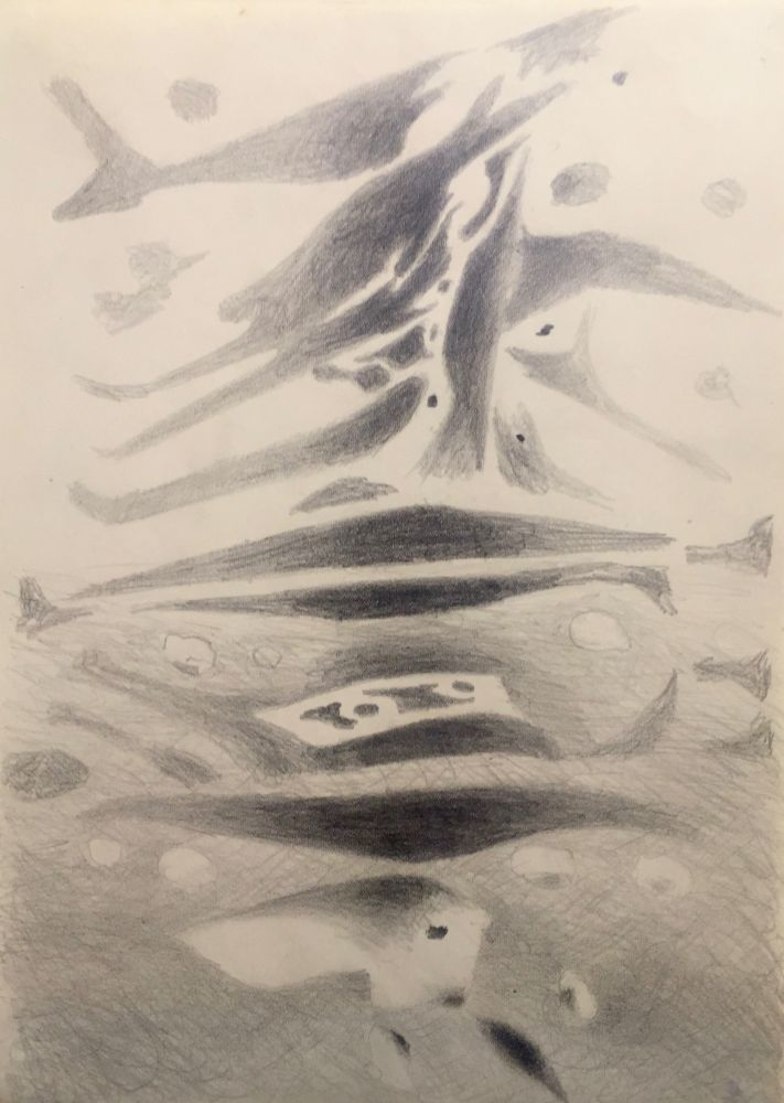 Curt Lahs | Air and Water | 1956 | pencil | verso signed, dated and titled by estate | 29,2 x 21