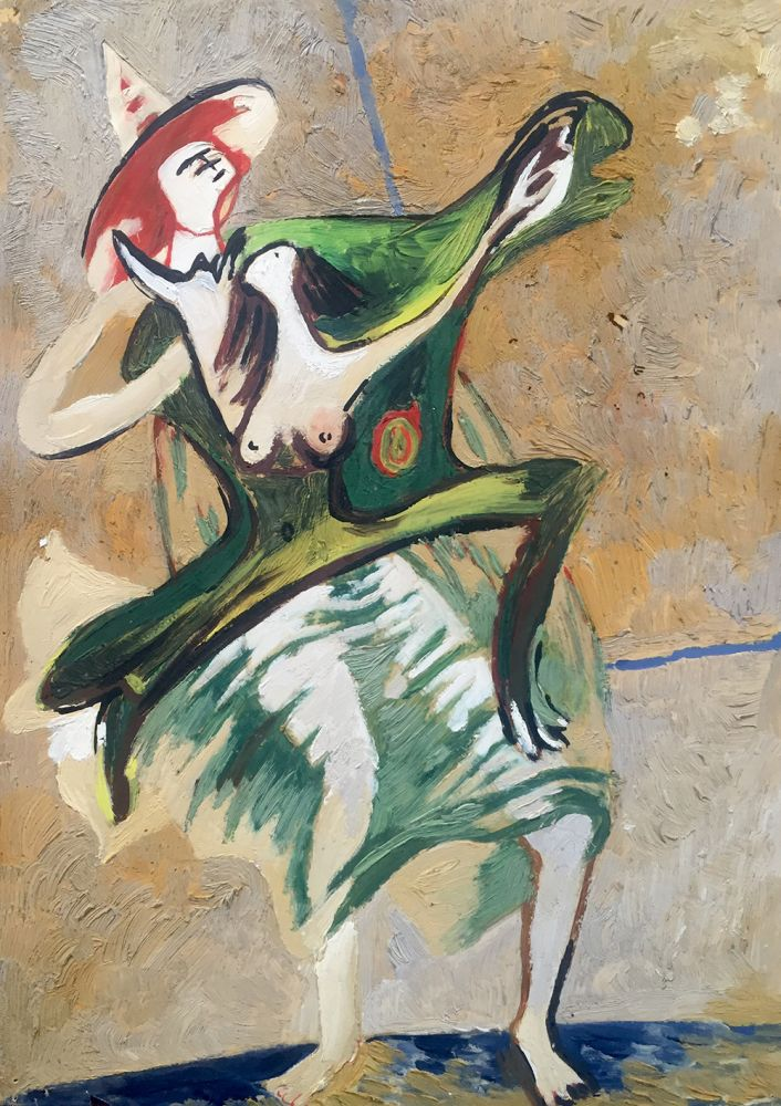 Curt Lahs | Dancers | about 1930 | oil and tempera on paper | verso estate stamp | 29.6 x 20.8