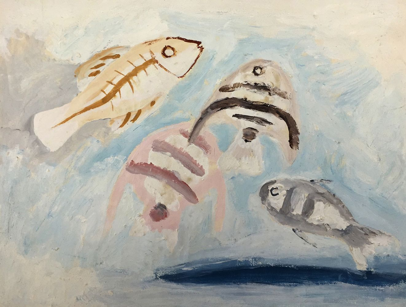Curt Lahs | Four Fish on Bright Ground | 1935 | tempera over pencil on laid paper | authorized and dated by estate | 23.5 x 31
