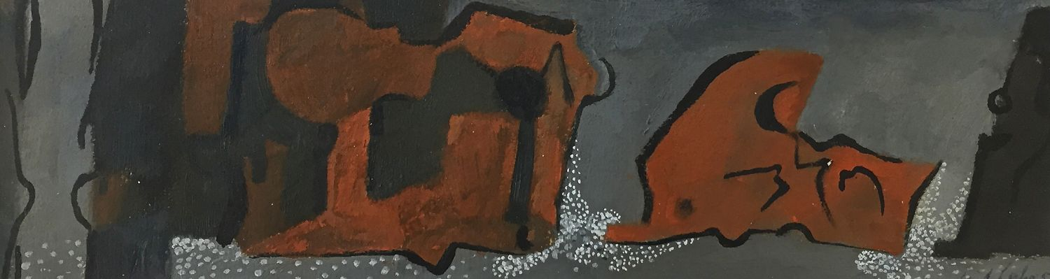 Curt Lahs | Untitled | 1954 | tempera on paper | signed and dated, verso estate stamp | 10 x 34.6