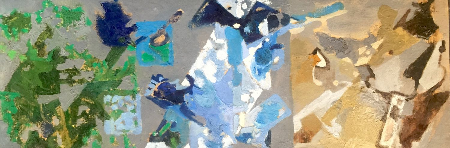 Curt Lahs | Untitled | about 1950 | oil and tempera on laid paper | verso estate stamp |  10 x 28,8