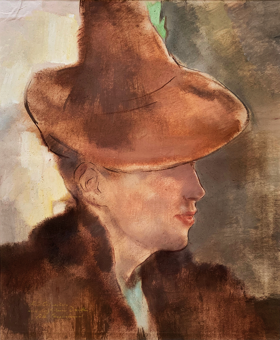 Lotte Laserstein | Woman with Pointed Hat | about 1940 | oil and gouache on paper | signed | 45.3 x 37.3 cm