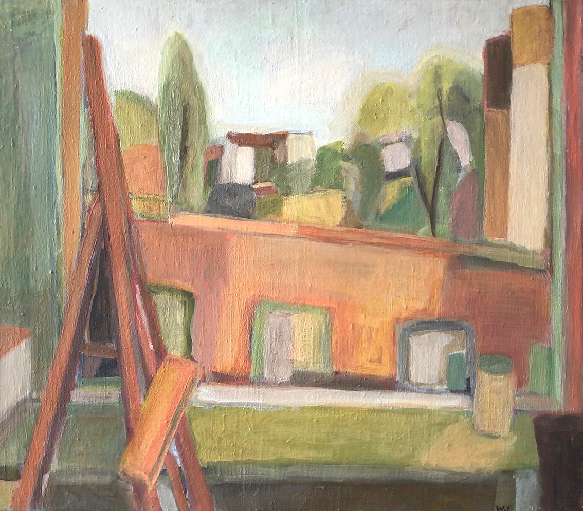 Wolfgang Leber | View out of The Artist's Studio | 1970 | oil on canvas | monogrammed | 60 x 70 cm