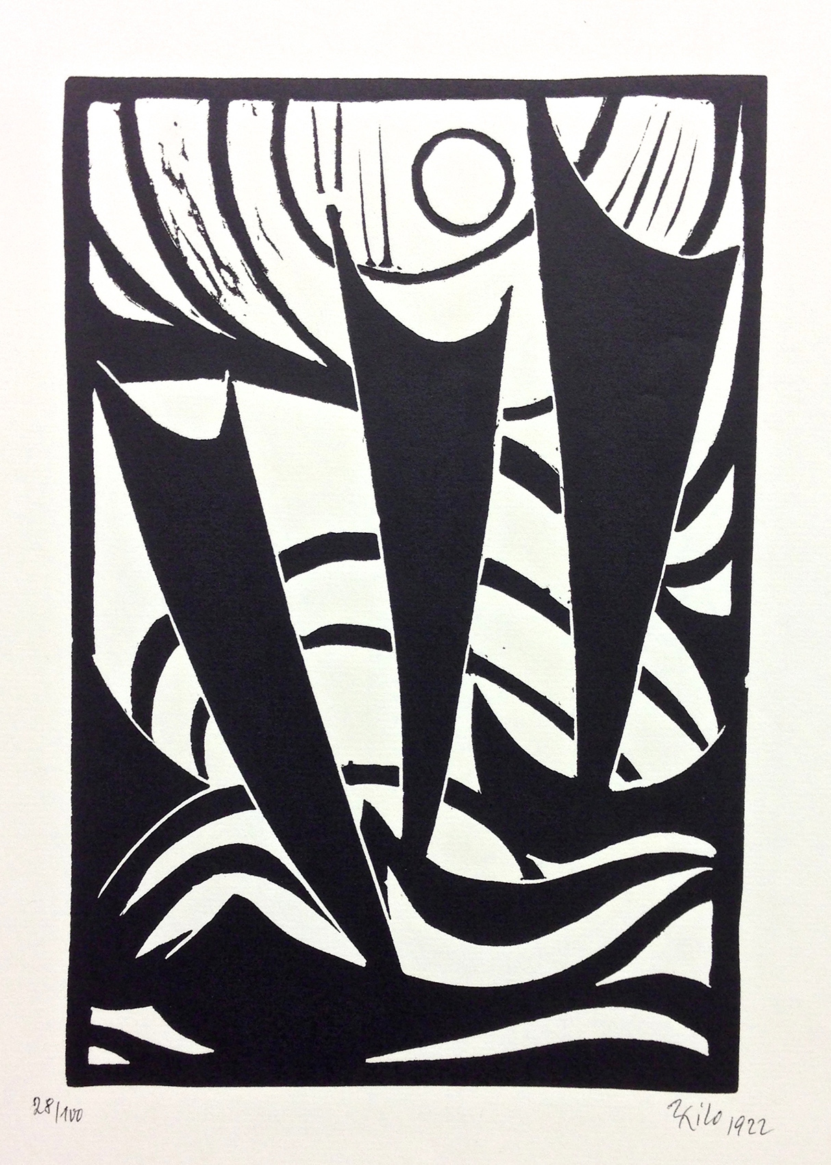 Thilo Maatsch | Composition | 1922 | woodcut | signed, dated and numbered | 43 x 30