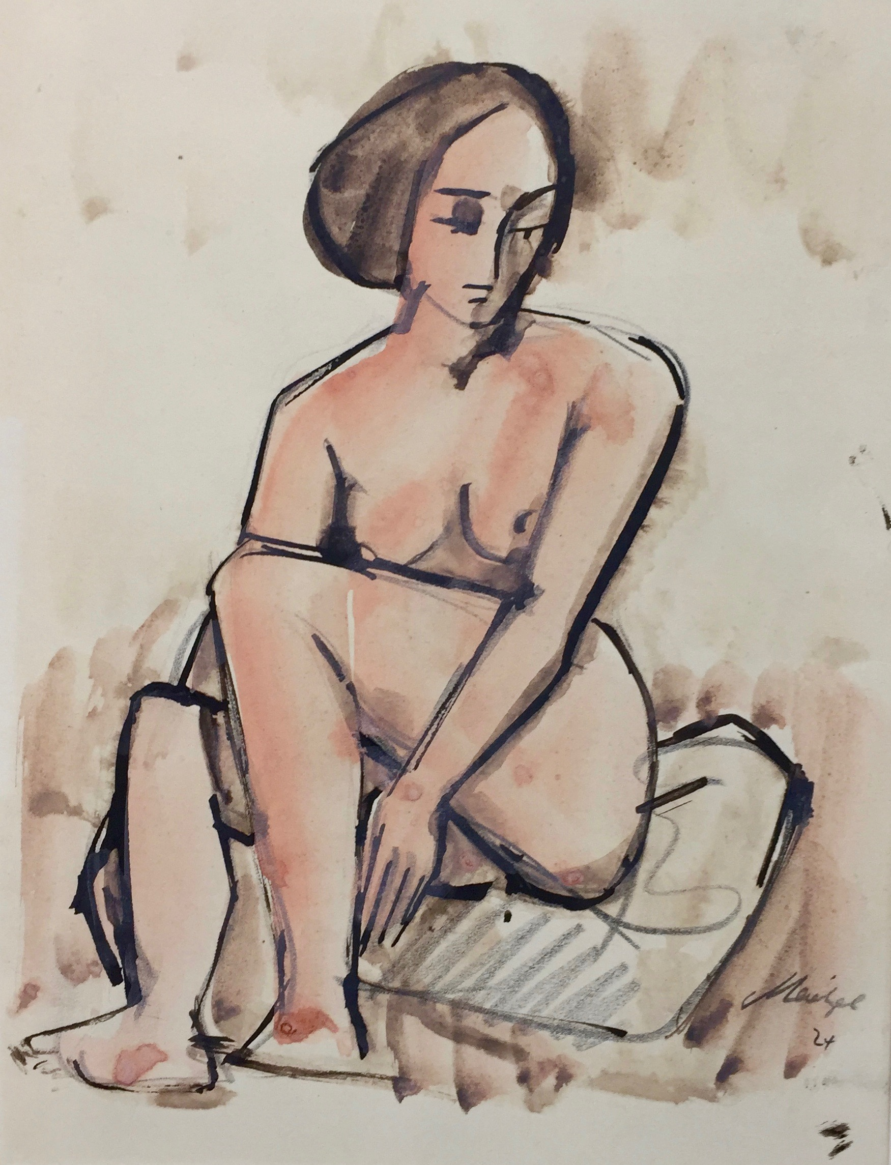 Emil Maetzel | Sitting Nude | 1924 | watercolour, ink and pencil | signed and dated | 23 x 18