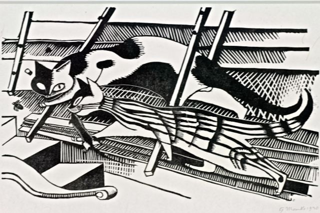 Gerhard Marcks | Cats (Cats in The Attic) | 1920 | woodcut | signed, dated and titled | 23.6 x 38.8