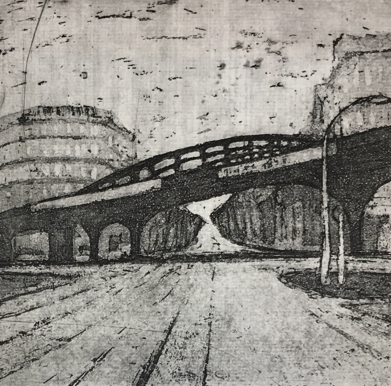 Monika Meiser | Elevated Railway Schönhauer Allee | 1985 | aquatint | signed and dated | 12 x 12.4 cm
