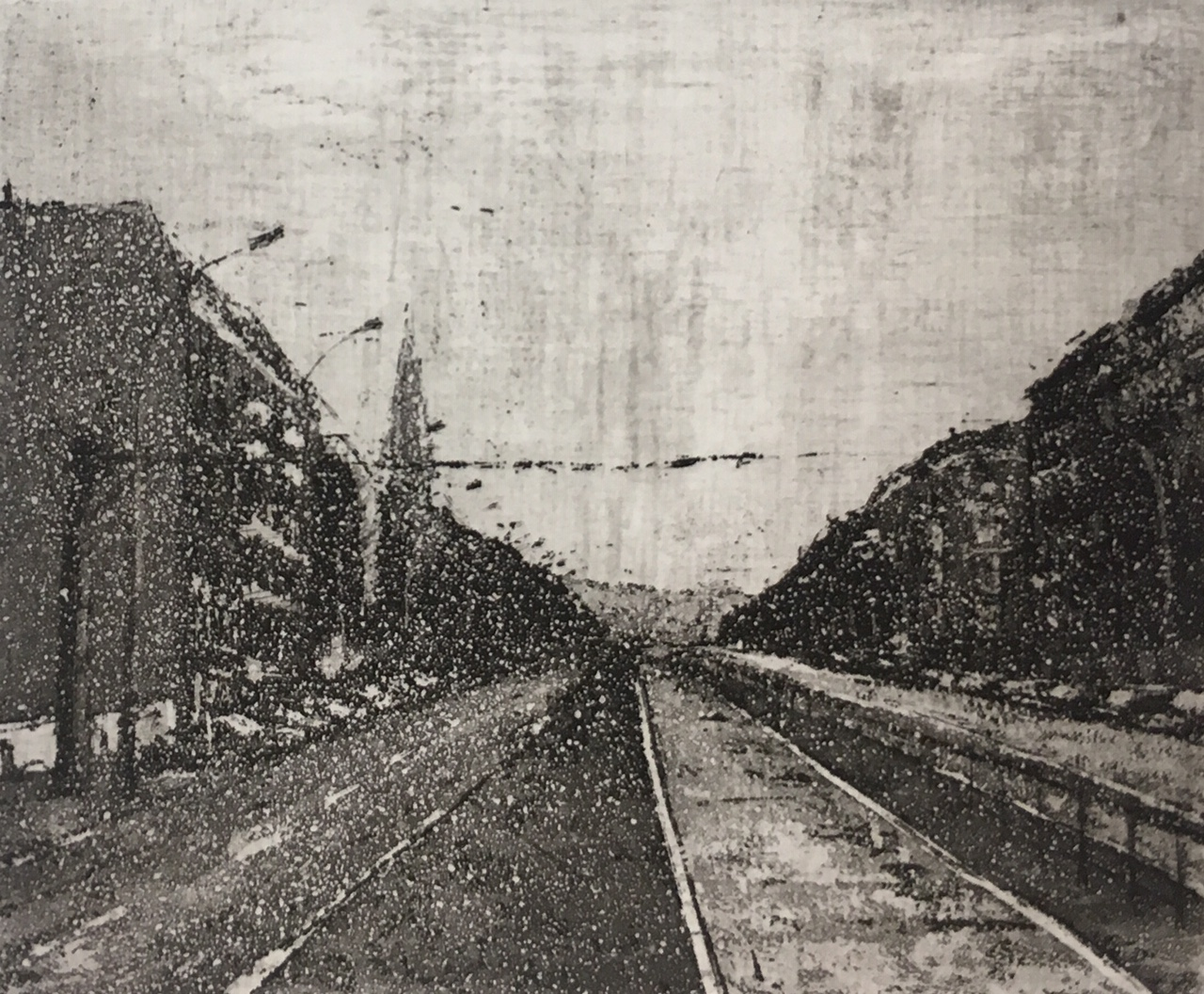 Monika Meiser | Prenzlauer Allee | 1983 | aquatint | signed and dated | 9 x 10.8 cm