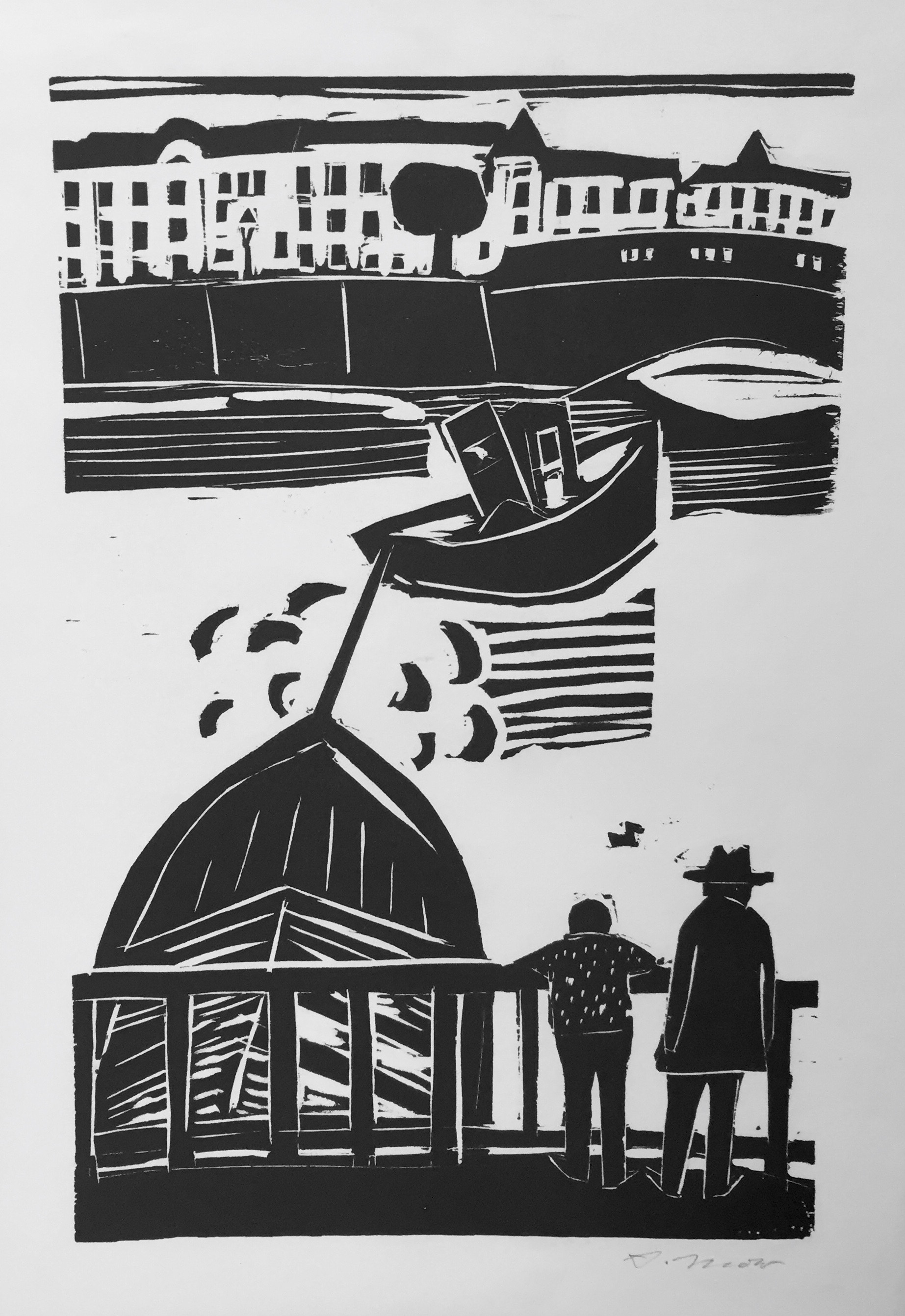 Arno Mohr | At The Port | woodcut | signed and verso titled | 49 x 31.5