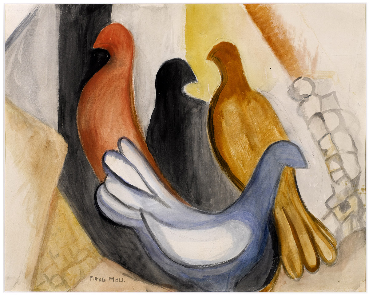 Margarethe Moll | Four Doves | about 1950 | watercolour | signed | 68 x 77 cm