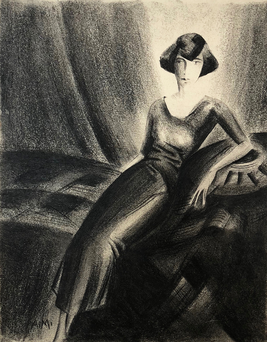 Albert Mueller | Young Woman on Chaise Longue | 1920s | charcoal | monogrammed | 28 x 22 cm