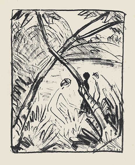 Otto Mueller | Three Figures and Crossed Trunks | 1916 | lithography | signed | 26.5 x 21 cm