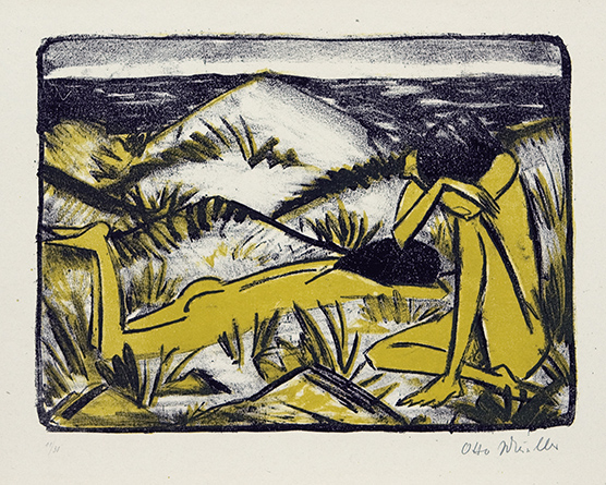 Otto Mueller | A Girl Sitting in Dunes and a Lying Girl | 1920/24 | coloured lithography | signed and numbered | 29.7 x 39.2 cm