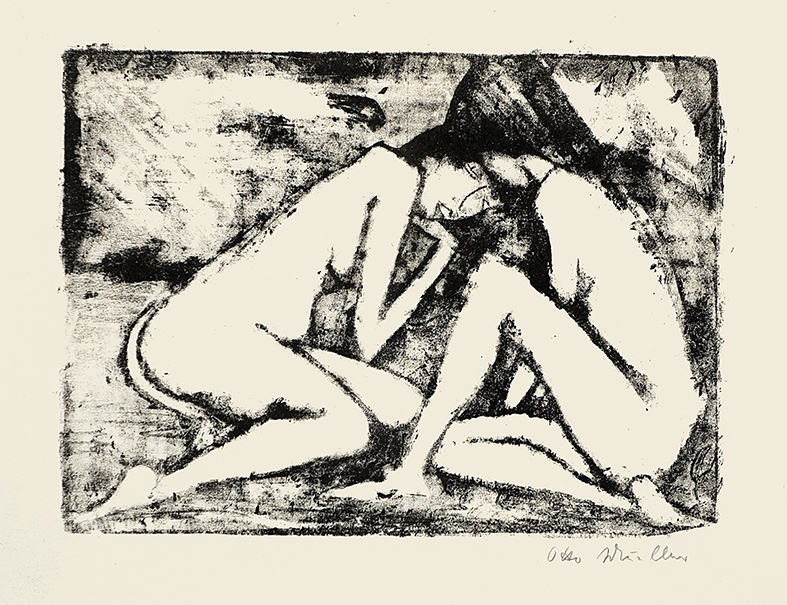 Otto Mueller | Two Sitting Girls | 1921-22 | lithography | signed and dated | 29 x 39.8 cm