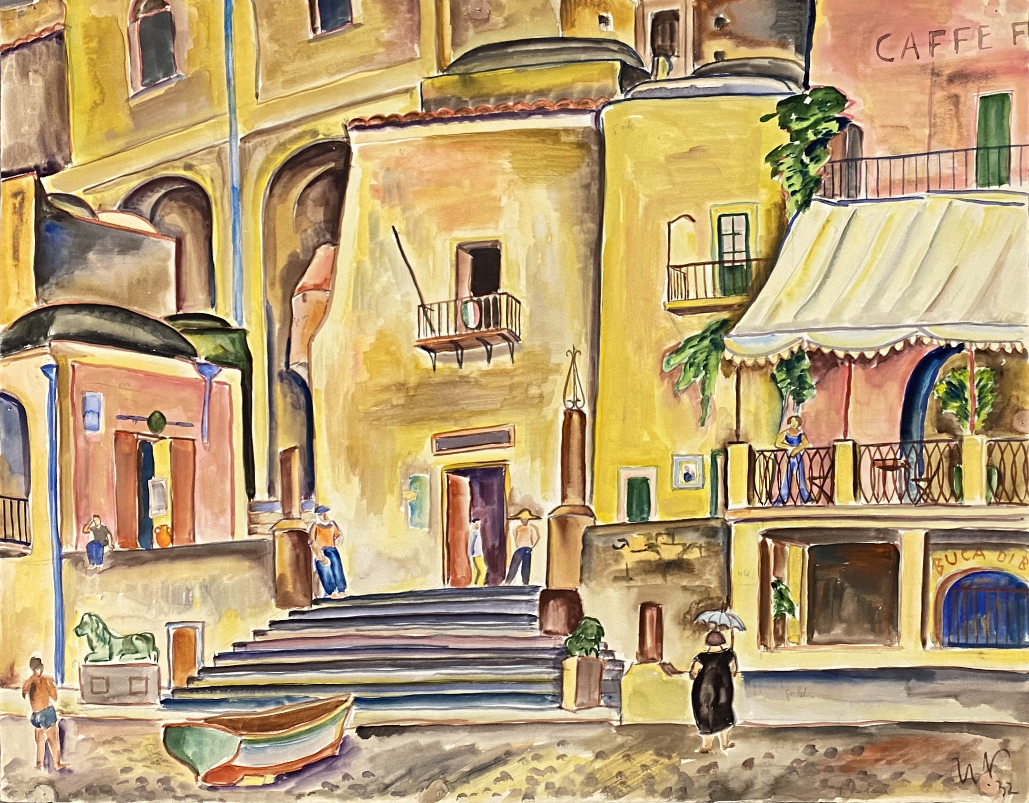 Ulrich Neujahr | Positano 1 | 1932 | watercolour | monogrammed, dated and verso titled | 54 x 69 cm