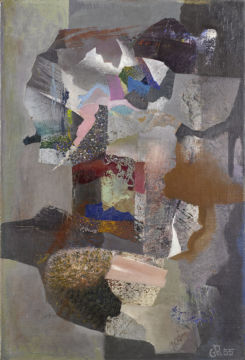 Gabriel Pellon | Untitled | 1955 | oil on hessian | monogrammed and dated | 87.5 x 58.5