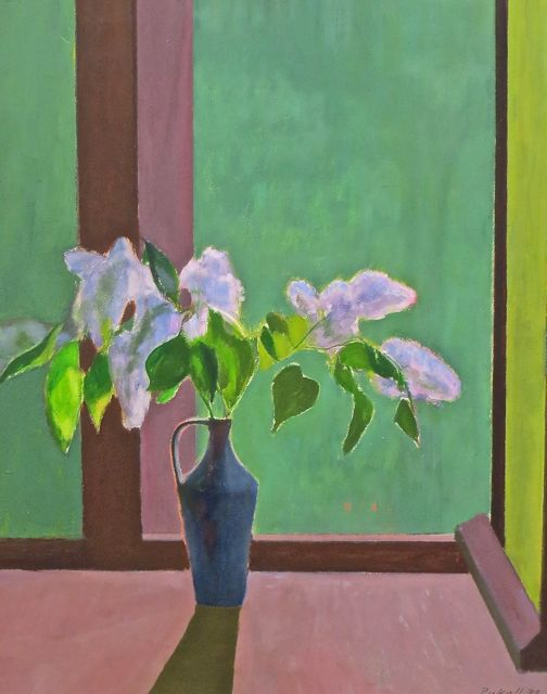Egon Pukall | Bouquet of Lilac at The Window | 1979 | oil on hardboard | signed and dated | 79 x 64