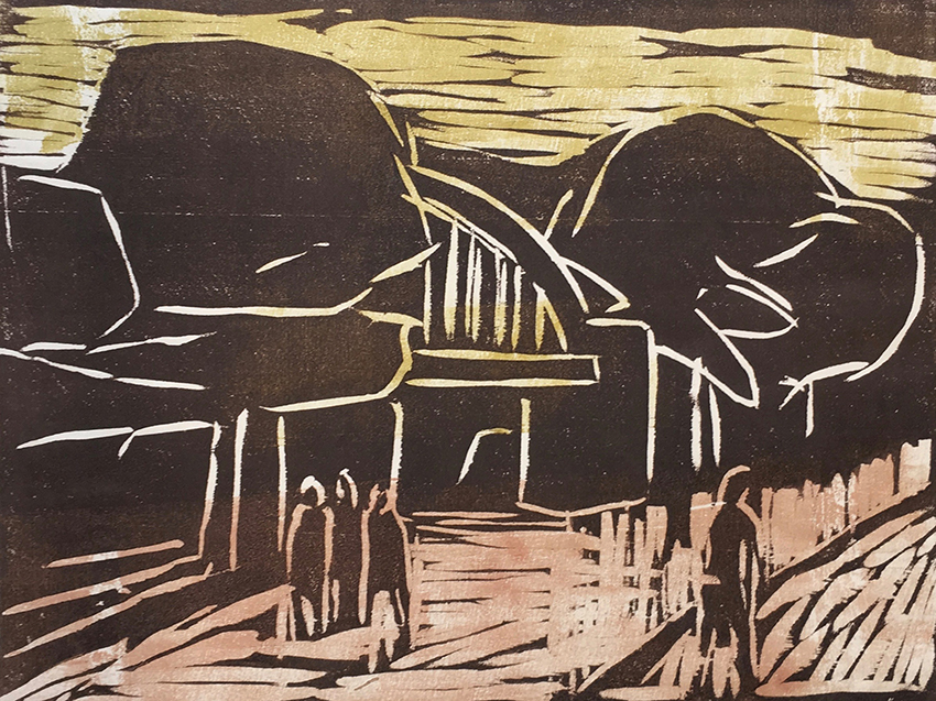 Klaus Roenspieß | At The Elevated Railway | 1981 | coloured woodcut | signed, dated and titled | artist's proof | 27.2 x 36 cm