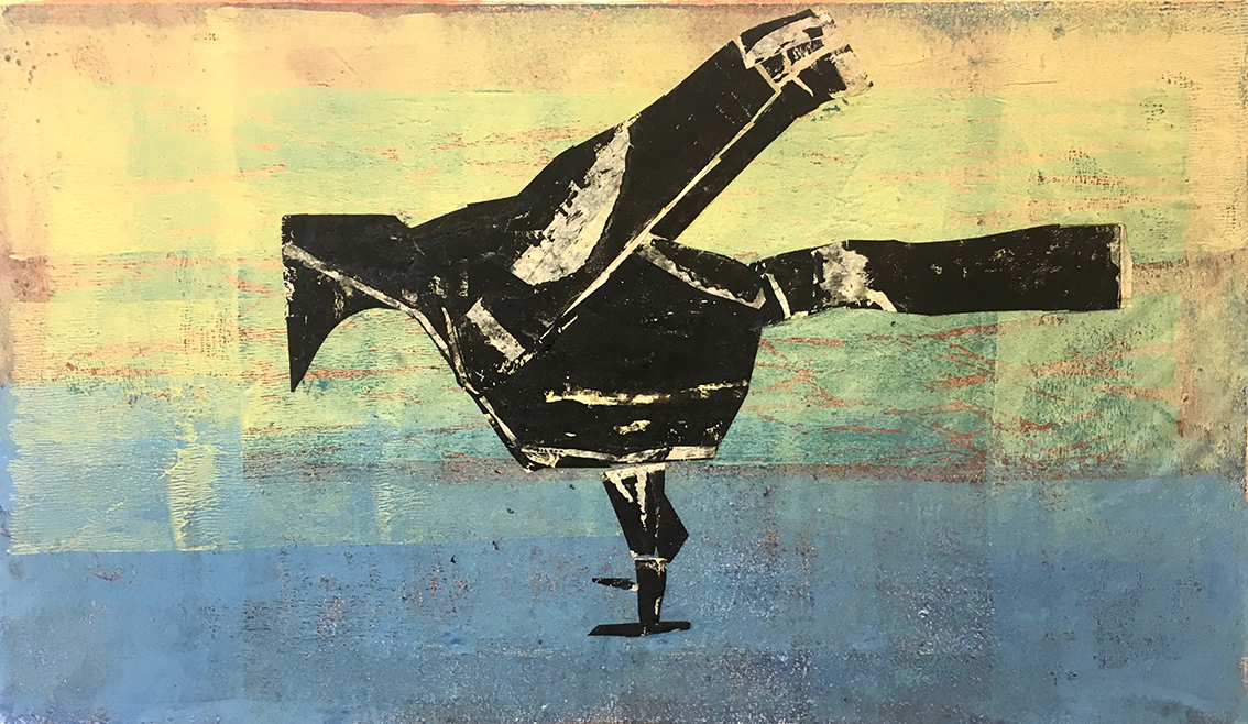 Vera Schwelgin | Crow | 2017 | woodcut and collage | signed, dated and titled | 33 x 57 cm