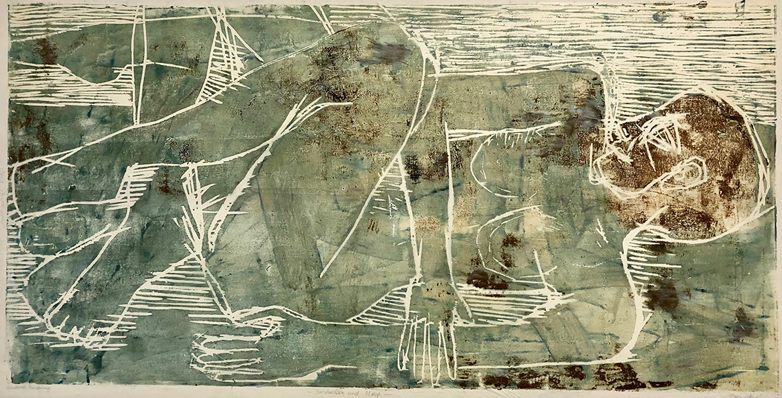 Vera Schwelgin | Sand Waves and Sea | 1999 | wood cut | signed, dated and titled | 110 x 220 cm