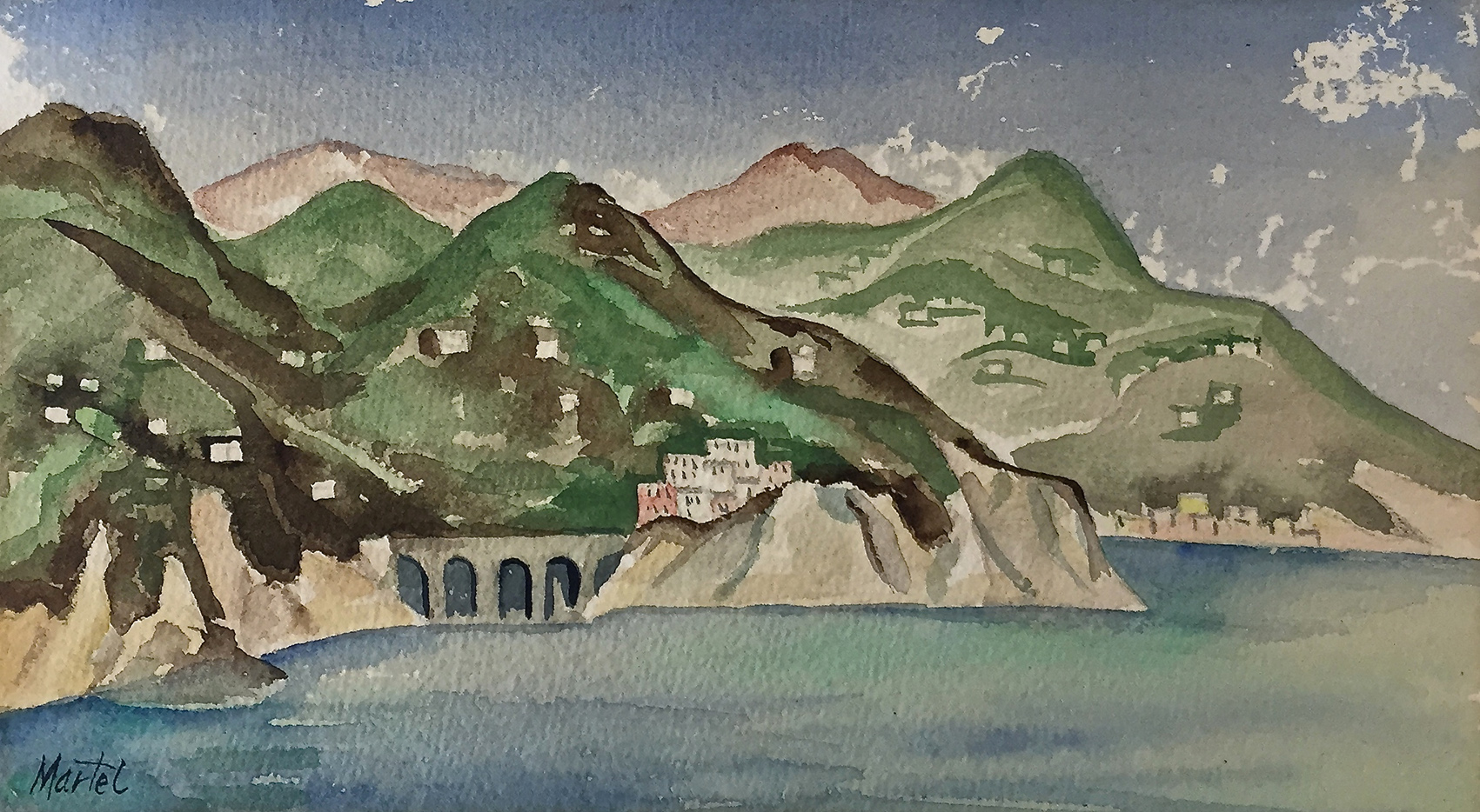 Martel Schwichtenberg | Coast of Amalfi | watercolour | 1932 | signed, verso dated | 11.7 x 20.5