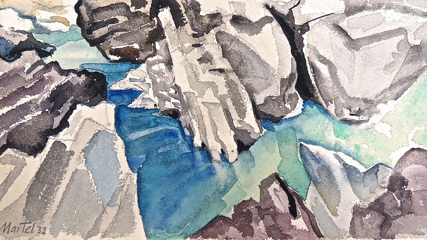 Martel Schwichtenberg | Wildwater Gorge | 1932 | watercolour over pencil on cardboard | signed and dated | 11.7 x 20.8