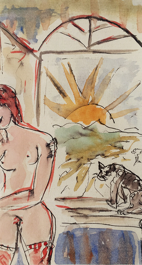 Max Schwimmer | Nude at the Window | ink and watercolour | verso signed | 14 x 7.5 cm