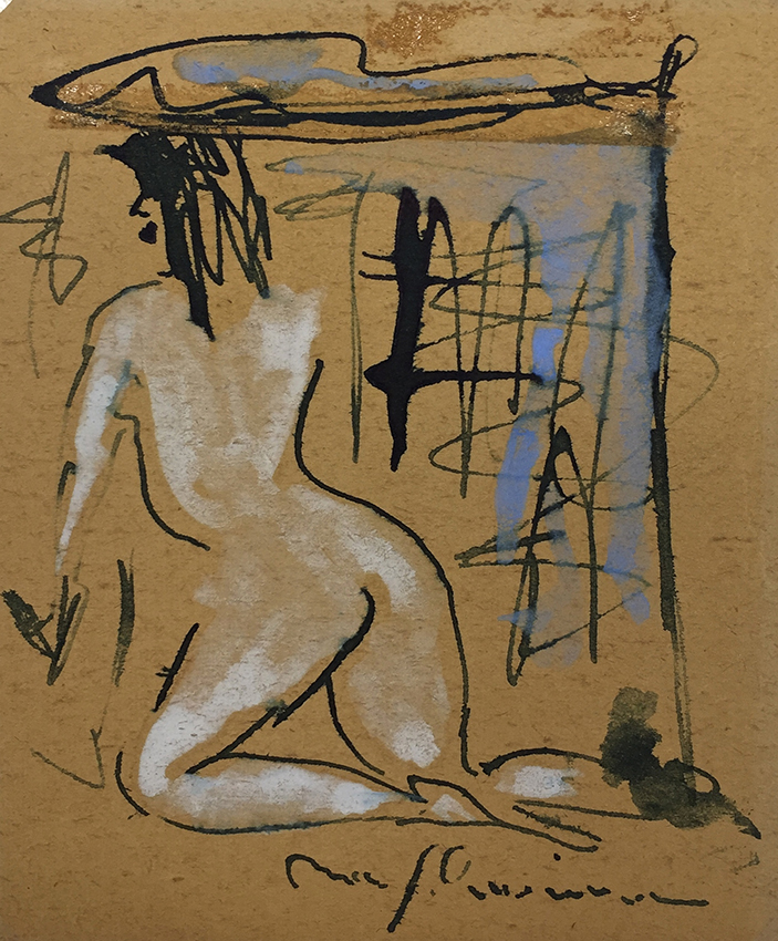 Max Schwimmer | Female Nude | ink and watercolour | signed | 13.5 x 11.6 cm