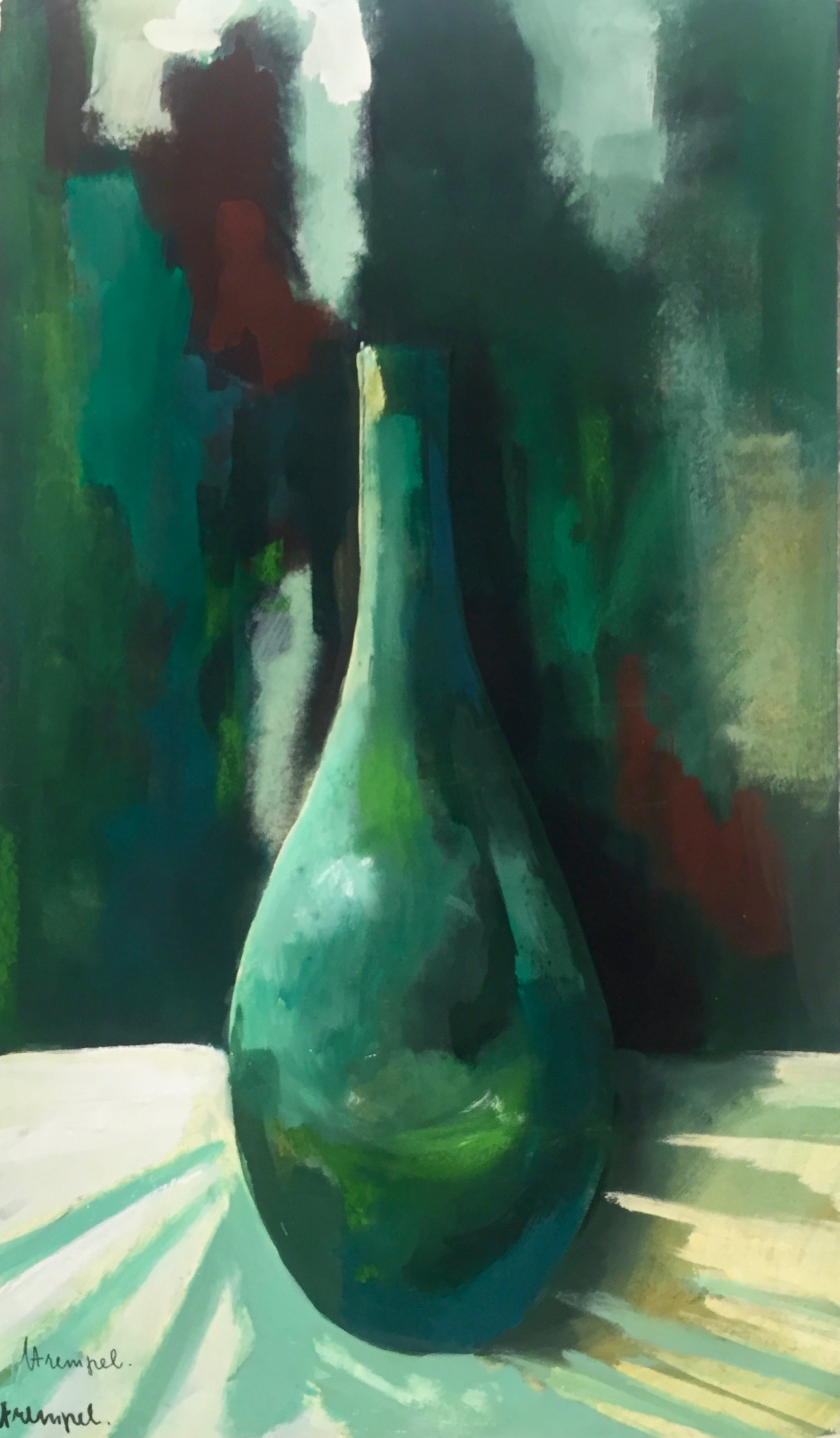 Horst Strempel | Still Life with Green Bottle | 1966 | tempera | signed, dated and titled | 58.6 x 36.5