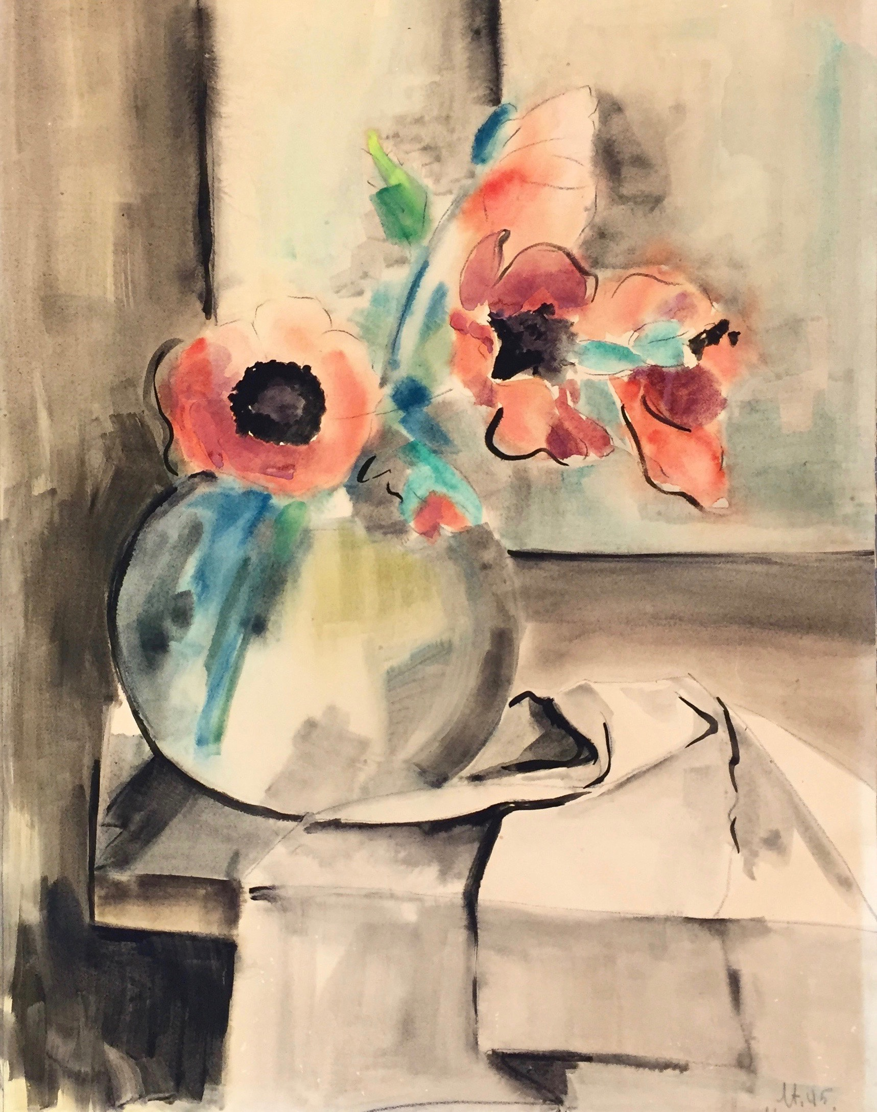 Hort Strempel | Untitled (Still Life) | 1945 | watercolour | signed and dated | 62 x 48 cm