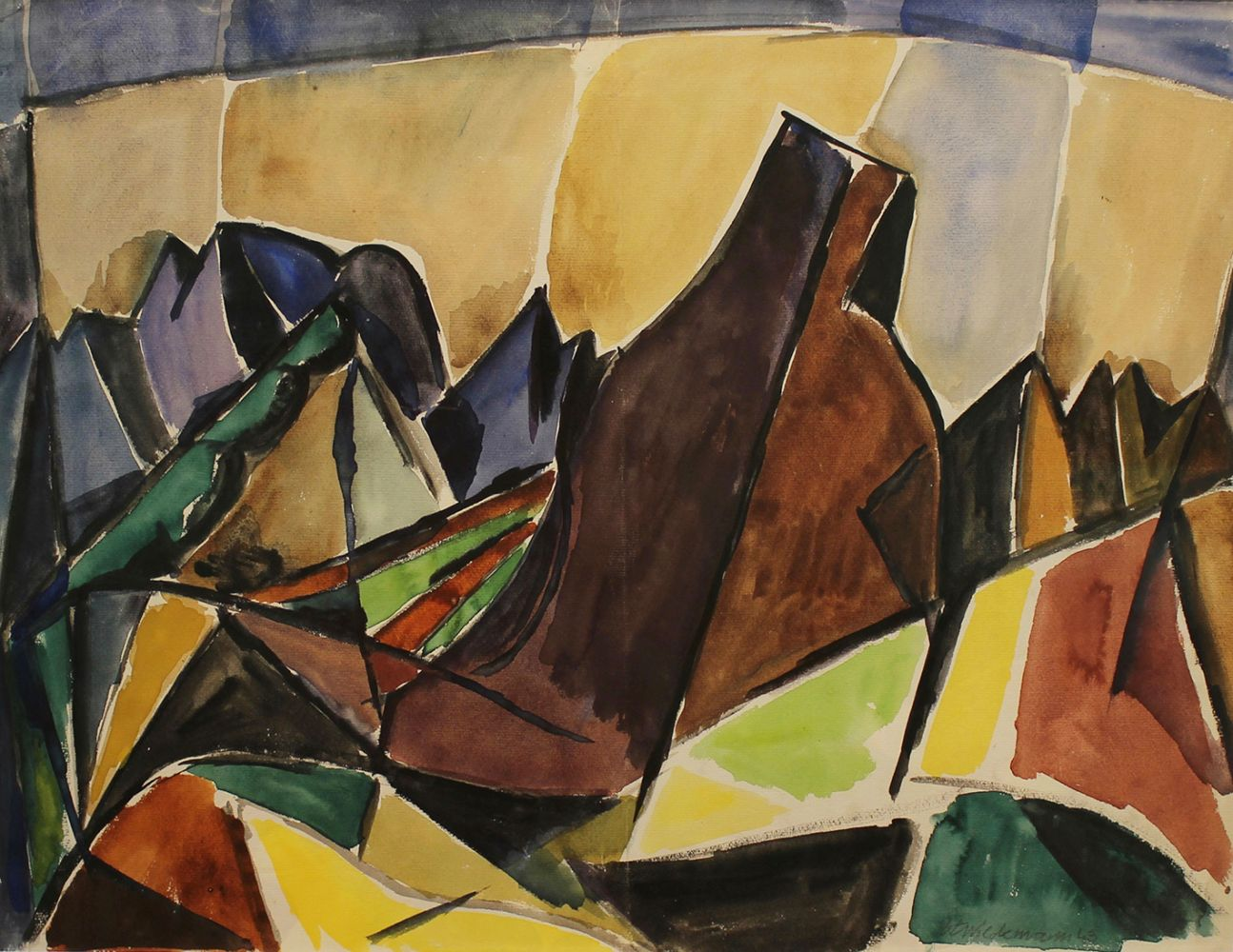 Heinrich Wildmann | Komposition (Landschaft) | 1943 | Aquarell | signiert u. datiert | 62,3 x 31