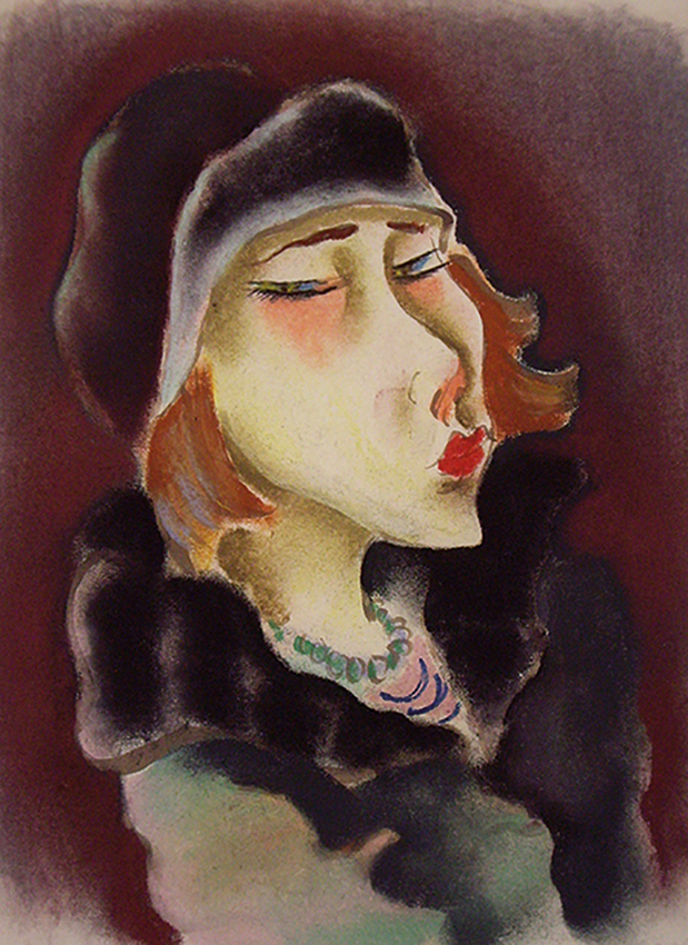 Richard Ziegler | Woman with Gray Fur Cap and Gray Fur Collar | 1920er Jahre | pastel | monogrammed | 43 x 31 cm