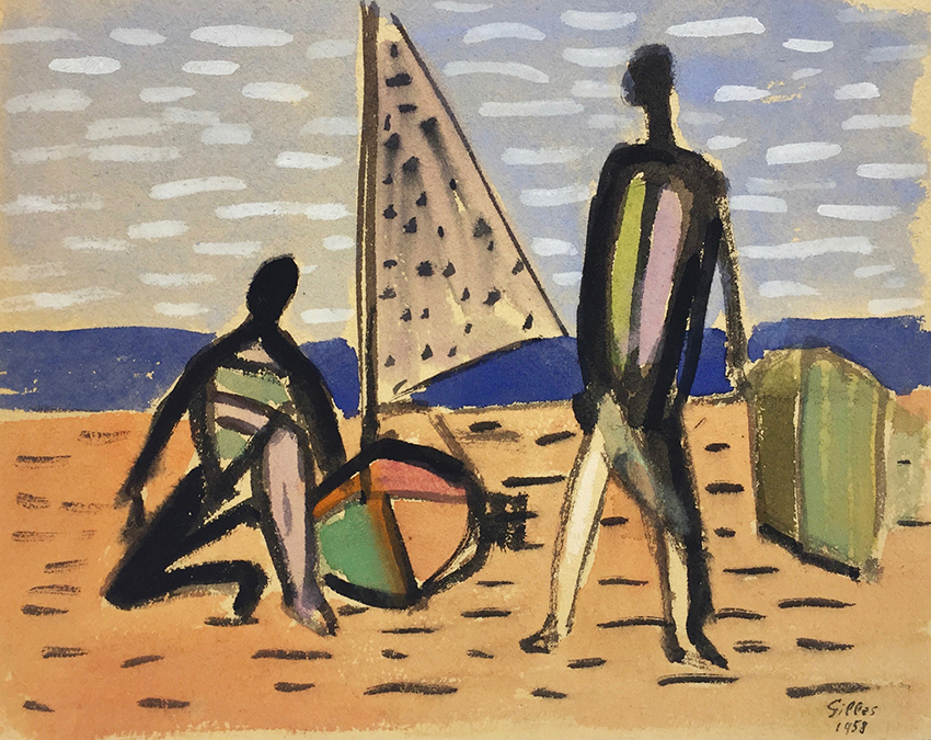 Werner Gilles | At the Beach | 1958 | watercolour on cardboard | signed and dated | 22 x 27.9 cm