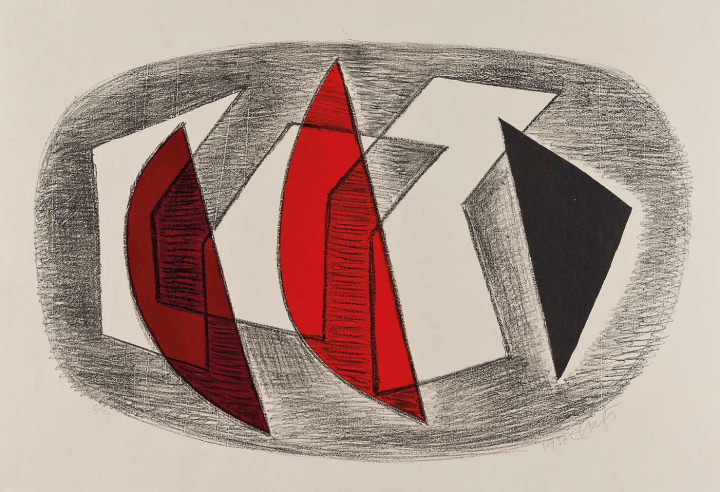 Erwin Hahs | Encountering Forces | 1956 | lithography | signed, dated and titled | 44,5 x 83