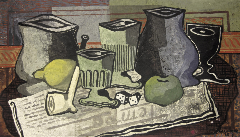 Rudolf Ausleger | Still Life | 1928 | oil on cardboard | signed and dated | 28.5 x 48.5